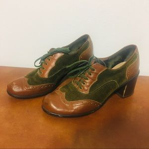 Vintage Two-Toned Leather & Suede Heeled Oxfords